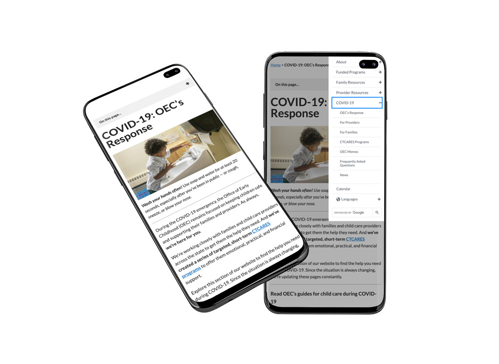 OEC COVID content on a mobile device
